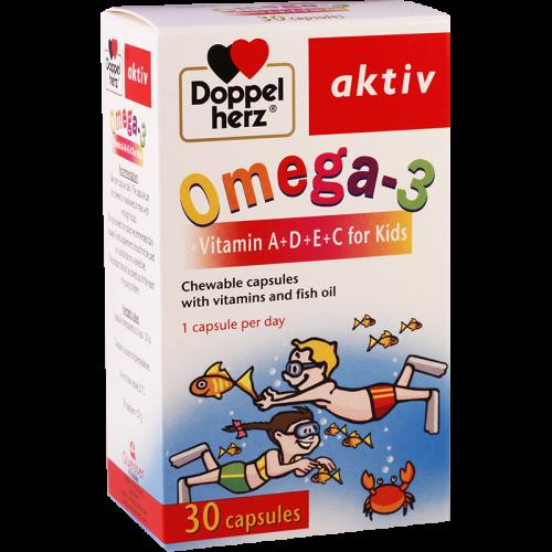 დოპელ ჰერც ომეგა-3 ვიტ A+D+E+C საბავშვო კაფსულა #30