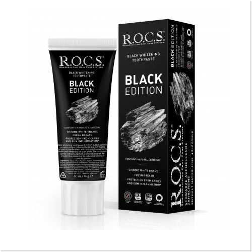 """როქსი - კბ/პასტა """"Black Edition"""" შავი მათეთრებელი 74გრ 4867"""