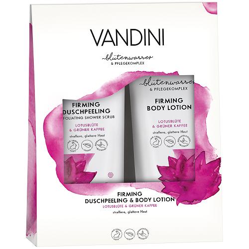 ვანდინი - FIRMING დუო კომპლექტი შხაპის გელი და ტანის ლოსიონი ლოტუსის ყვავილი და მწვანე ყავა 2X200მლ 0370/1075