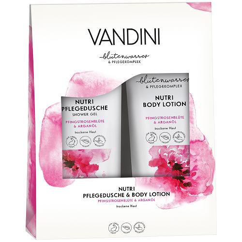 ვანდინი - NUTRI დუო კომპლექტი შხაპის გელი და ტანის ლოსიონი პიონის ყვავილი და არგანის ზეთი 2X200მლ 0270/0979/1259